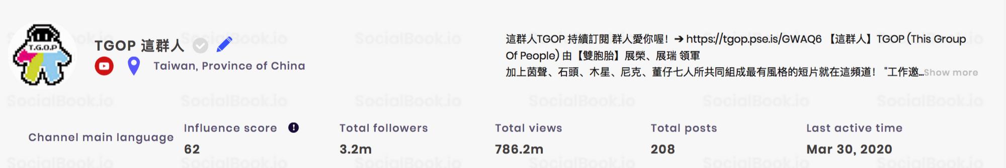 這群人TGOP YouTube频道粉丝