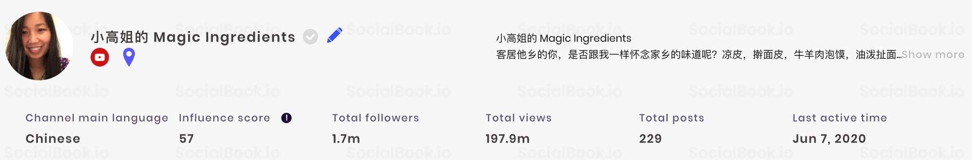 小高姐的Magic Ingredients YouTube频道粉丝数量(出自SocialBook)